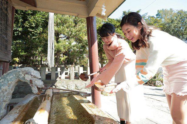 手水舎(ちょうずや)で手を清めるときは、装飾にも注目してみよう / 浜松元城町東照宮