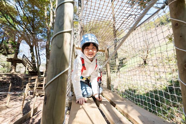 九州初のキッズコースがあり、身長90㎝以上の幼児も体験OK(アドベンチャーバレーSAGA)