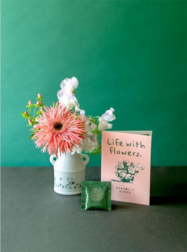 花の名前や手入れ方法が分かるリーフレット付き