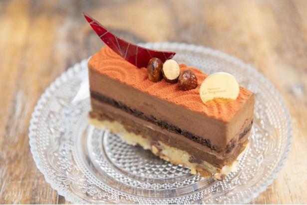 【写真を見る】表面に吹き付けたチョコレートの赤色が存在感抜群