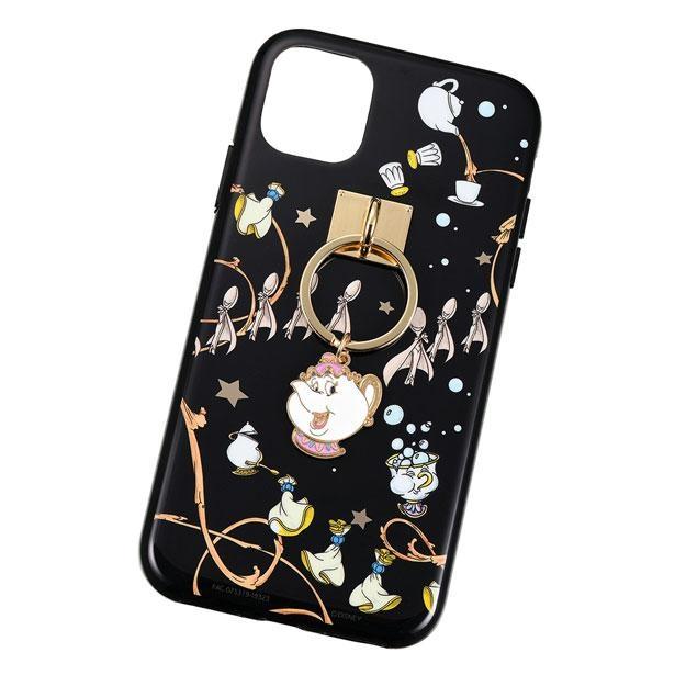 ポット夫人とチップがデザインされた、ゴージャスな雰囲気のiPhone 11用スマートフォンケース(2800円)