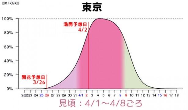 【写真を見る】東京の見頃は4月1日(土)から8日(土)、満開になるのは4月2日(日)頃
