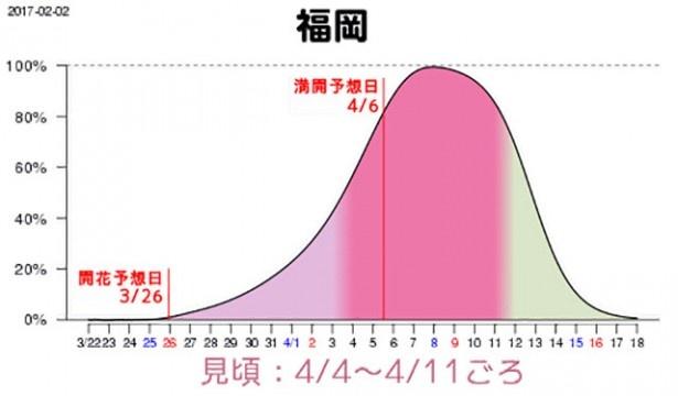 福岡の満開予想日は4月6日(木)、4日(火)~11日(火)が見頃となりそうだ