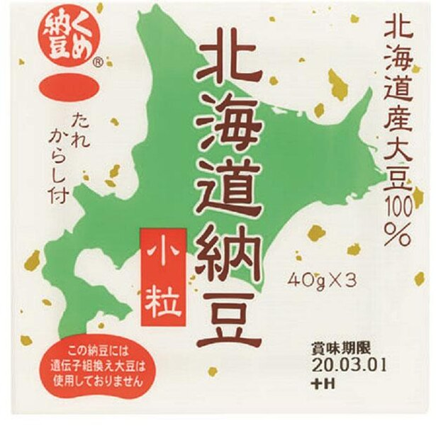 くめ納豆北海道納豆ミニ3(ミツカン、¥185/40g×3 170kcal/可食部100g当たり)