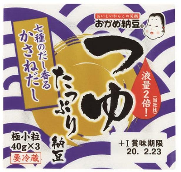 つゆたっぷり納豆(タカノフーズ、¥182/40g×3 93kcal/1パック当たり(納豆・たれ含む))