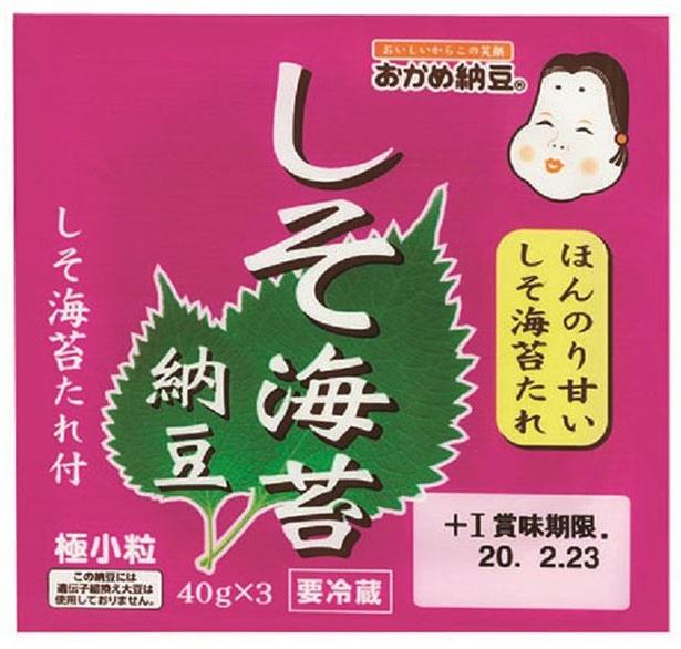 しそ海苔納豆(西日本)(タカノフーズ、¥182/40g×3 91kcal/1パック当たり(納豆・たれ含む))