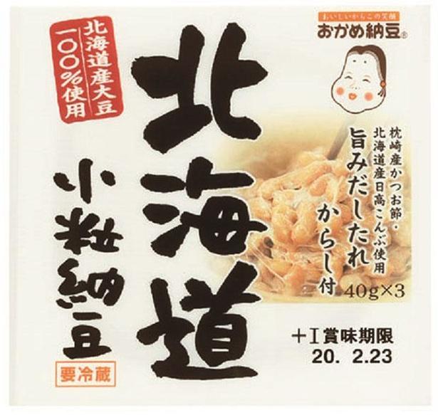 北海道小粒納豆(タカノフーズ、¥181/40g×3 80kcal/1パック当たり(納豆・たれ・からし含む))