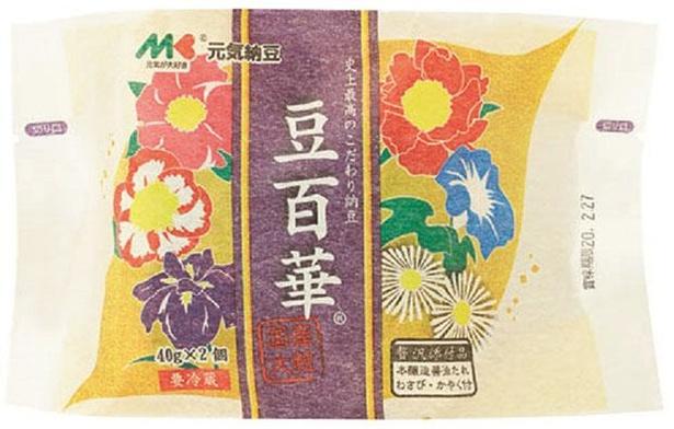 元気納豆 豆百華(マルキン食品、¥300/40g×2 (たれ・わさび・かやく付)  94kcal/1パック当たり (たれ・わさび・かやく含む))