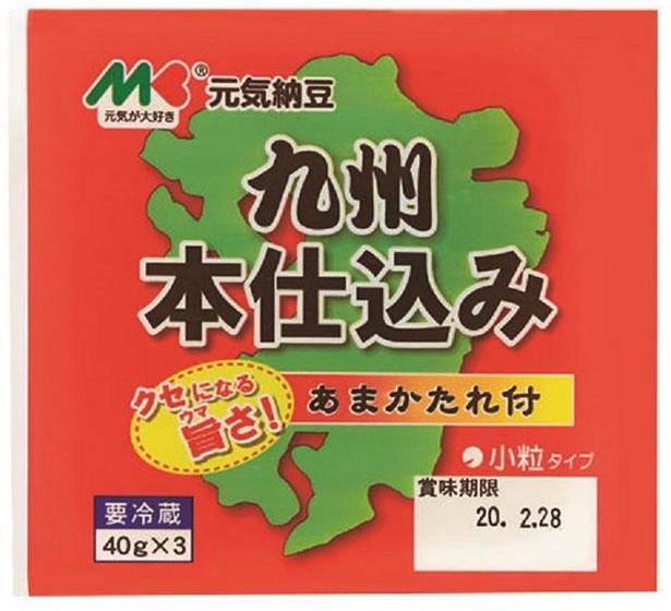 元気納豆 九州本仕込み(マルキン食品、¥160/40g×3(たれ付)  89kcal/1パック当たり(たれ含む))