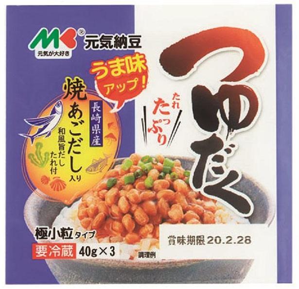 元気納豆 つゆだく納豆(マルキン食品、¥170/40g×3(たれ付)  83kcal/1パック当たり(たれ含む))