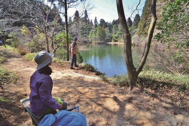 三国池の周辺にはベンチも