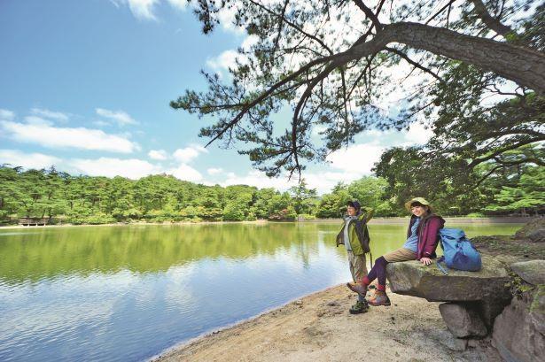 再度公園内の修法ヶ原池。池の周囲には遊歩道やベンチなども完備