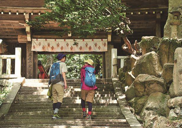 西国三十三観音が並ぶ石階段を上った所に立つ仁王門。朱塗りの山門などもある