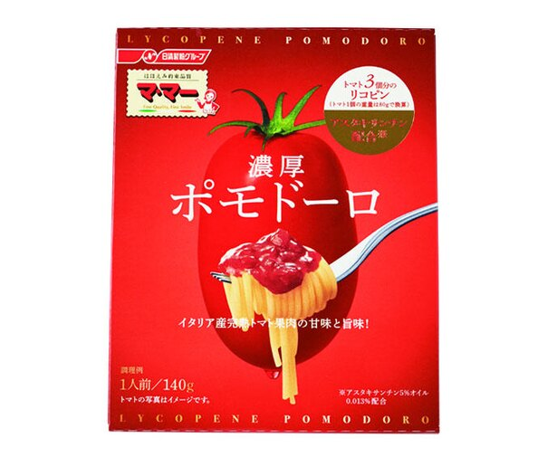 マ・マー トマト3個分のリコピン 濃厚ポモドーロ(日清フーズ、¥330/140g 215kcal)
