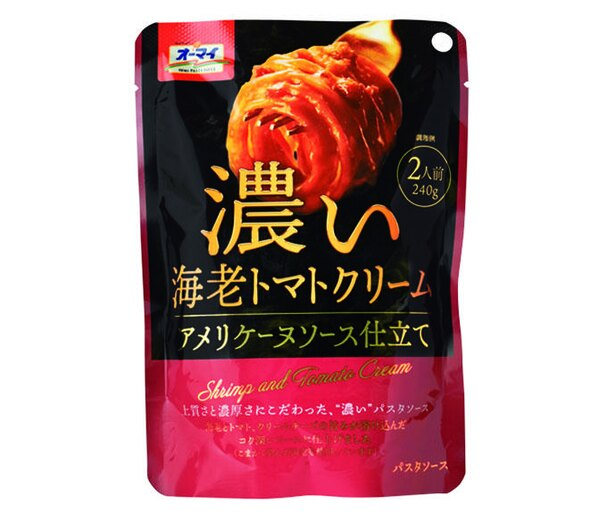 オーマイ 濃い海老トマトクリーム(日本製粉、¥250/240g 106kcal/1人前(120g)当たり)