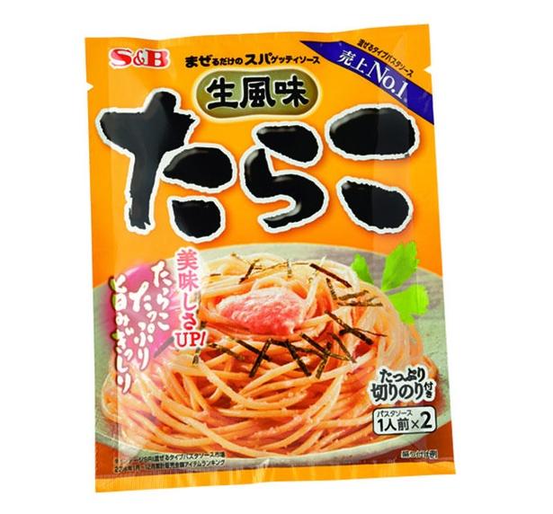 まぜるだけのスパゲッティソース 生風味たらこ(エスビー食品、¥219/53.4g(1食26.7g) 107kcal)