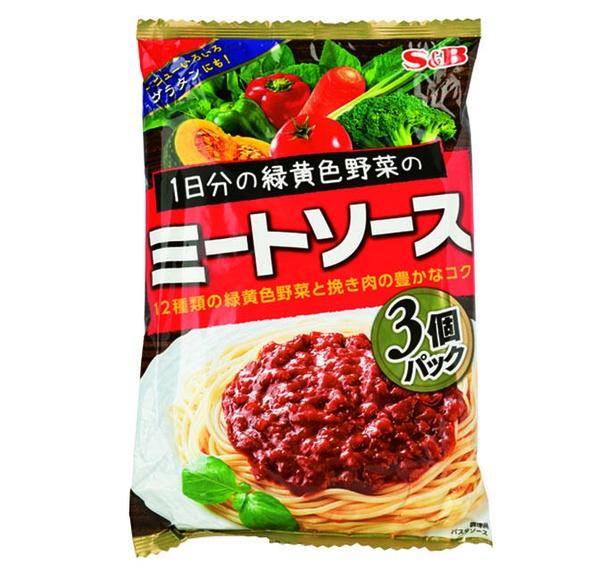 1日分の緑黄色野菜のミートソース 3個パック(エスビー食品、¥450/360g(1食120g) 153kcal)