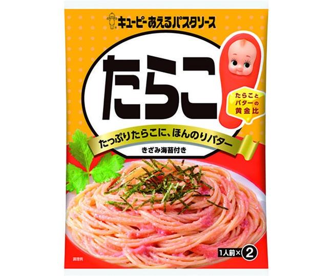 キユーピーあえるパスタソース たらこ(キユーピー、¥200/ソース46g(23g×2袋)、 トッピング2袋 82kcal/100g当たり)