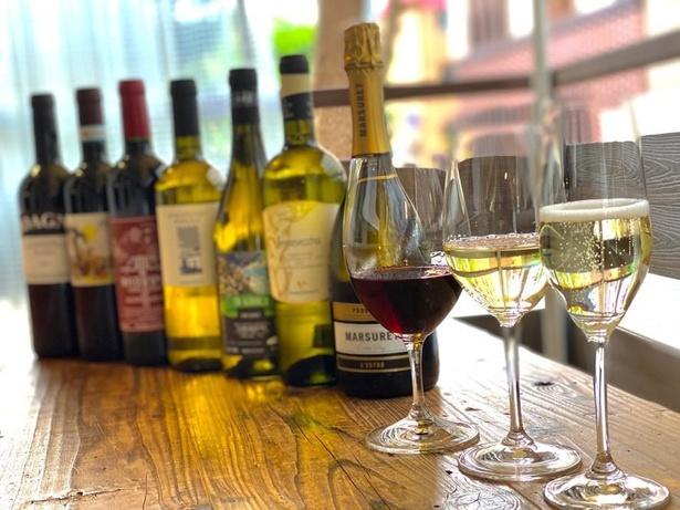 ワインは赤・白・泡など種類豊富/quarto