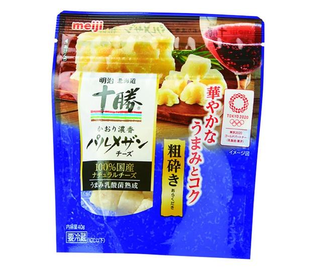 明治北海道十勝かおり濃香パルメザンチーズ粗砕き(明治、¥240/40g 149kcal(1袋40g))