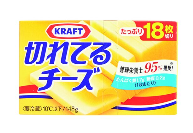 クラフト 切れてるチーズ(森永乳業、¥380/148g(18枚入り) 27kcal/1枚当たり)