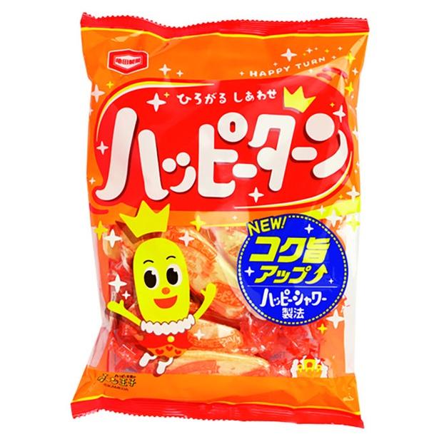 ハッピーターン(亀田製菓、¥238/108g 21kcal/1個包装当たり、535kcal/100g当たり)