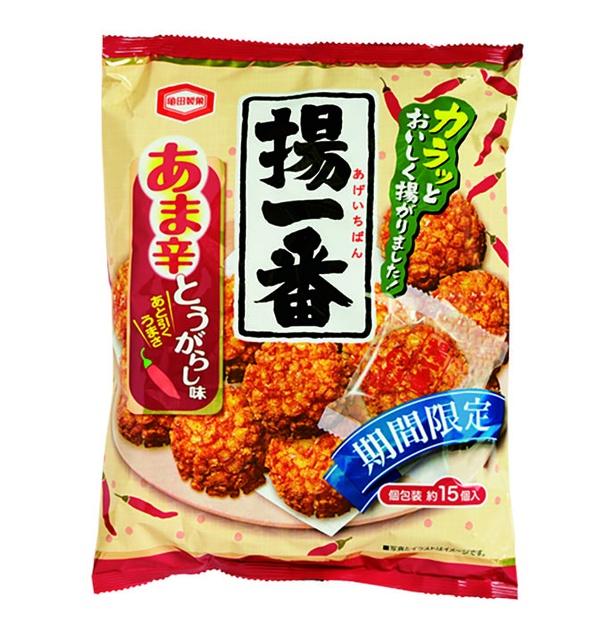 揚一番 あま辛とうがらし味(亀田製菓、¥238/112g 39kcal/1個包装当たり、526kcal/100g当たり)