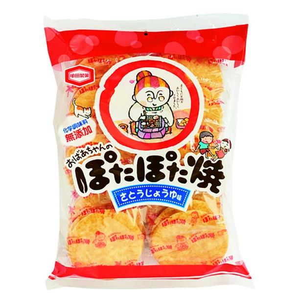 ぽたぽた焼(亀田製菓、¥216/20枚 53kcal/1個包装(2枚)当たり、426kcal/100g当たり)