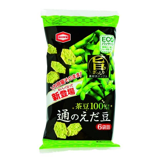 通のえだ豆(亀田製菓、¥216/70g 435kcal/100g当たり、51kcal/1個包装当たり)