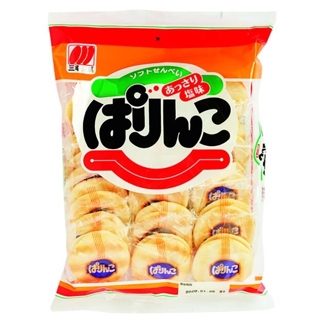 ぱりんこ(三幸製菓、¥220(希望小売価格)/36枚  514kcal/100g当たり)