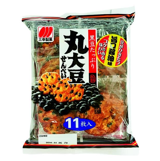 丸大豆せんべい(三幸製菓、¥220(希望小売価格)/11枚  450kcal/100g当たり)