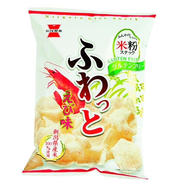 ふわっと やわらかえび味(岩塚製菓、¥130/45g 270kcal/1袋(45g)当たり)