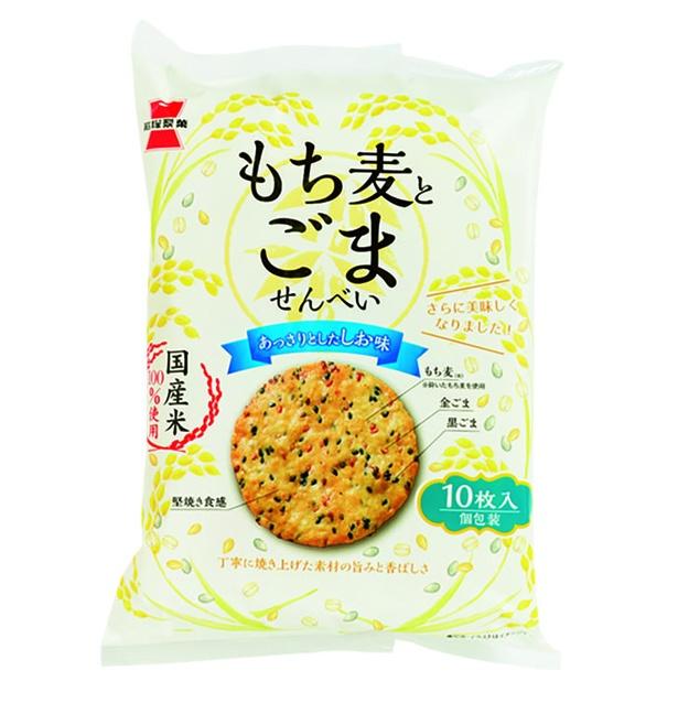 もち麦とごませんべい(岩塚製菓、¥220/122g 487kcal/100g当たり)