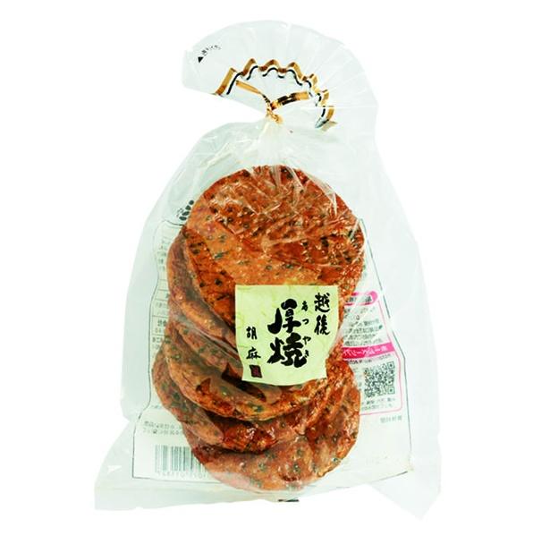 越後厚焼胡麻(越後製菓、¥226/6枚 411kcal/100g当たり)