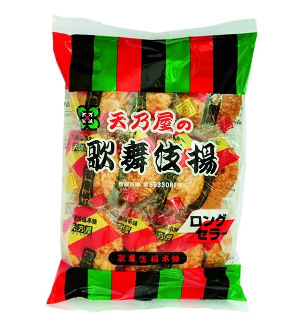 歌舞伎揚(天乃屋、¥238/11枚 61kcal/1枚当たり)