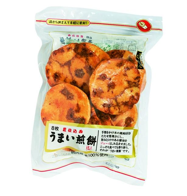 うまい煎餅(丸彦製菓、¥346(メーカー希望小売価格)/8枚 363kcal/100g当たり)
