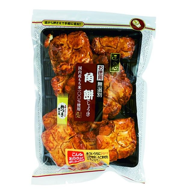 角餅(しょうゆ、無選別)(丸彦製菓、¥486(メーカー希望小売価格)/220g  366kcal/100g当たり)