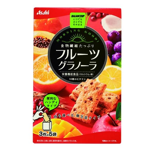 バランスアップ フルーツグラノーラ(アサヒグループ食品、¥286/150g 133kcal/1袋当たり)
