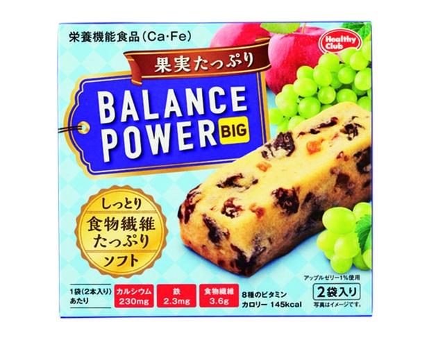 バランスパワービッグ 果実たっぷり(ハマダコンフェクト、¥130/2本×2袋  145kcal/1袋当たり)