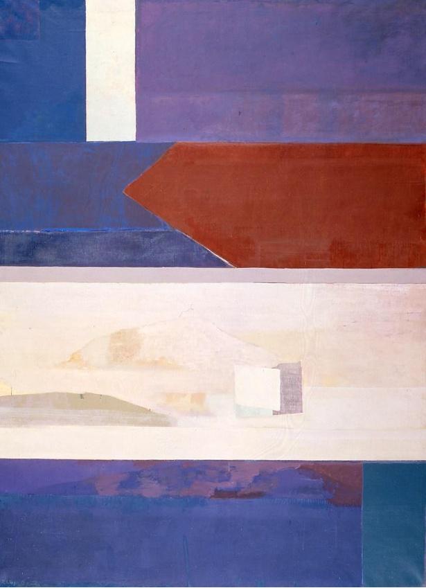 岡田謙三「青」/抽象と具象の組み合わせ、青と白の対比が印象深い作品 (1971年)
