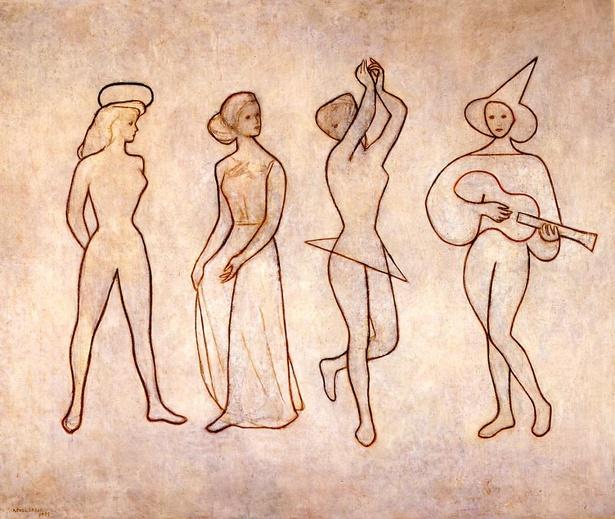 岡田謙三「詩人」/4人の人物が輪郭線だけで描かれた渡米前の作品 (1948年)