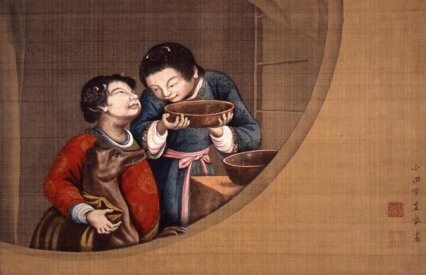 小田野直武「児童愛犬図」/洋犬と子供が重なり合う個所に描いた影が立体感を生み出している