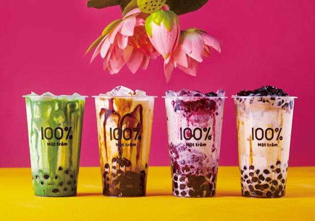 タピオカドリンクは5種類。「沖縄黒糖ミルク」(M 490円)、「モッチャムいちごみるく」(M  600円)、「めっちゃモッチャムミルクティー」(M 490円)、「めっちゃモッチャムカフェオレ」(M 550円)、「濃い宇治抹茶ミルク」(M 630円) ※L、MGサイズもあり