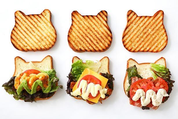 「ねこねこホットサンド」は「エビ&アボカド」(630円)、「タンドリーチキン&チーズ」(630円)、「B.L.T」(580円)の3種類が揃う