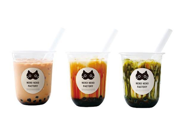 「ねこねこタピオカ」は「黒糖ミルク」「ミルクティー」「抹茶ミルク」(Mサイズ 各370円~)