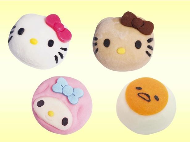 「キャラクター大福」(各税込220円)。キティはカスタードあんとチョコあんの2種、マイメロディはいちごあん、ぐでたまはカスタードあん