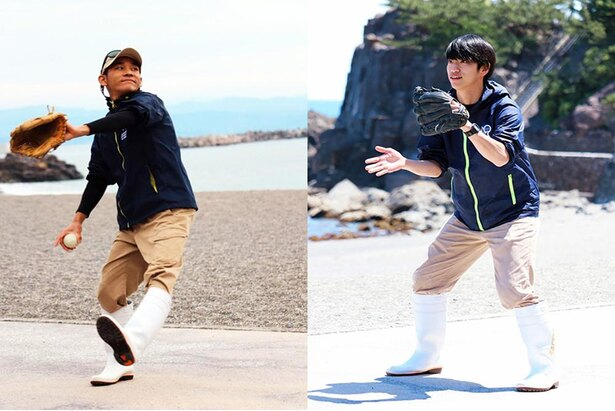 休館中、隙あらば浜でキャッチボールをする海獣チーム。写真は飼育員の「まるのん」と「ラビ」