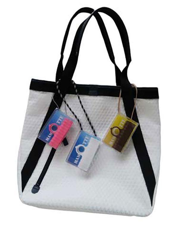 手持ちのひもを通してバッグの持ち手に装着できる
