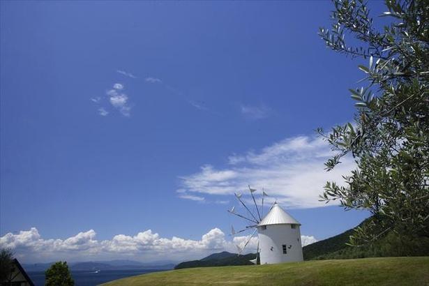 【写真】エーゲ海を思わせる真っ白なギリシャ風車