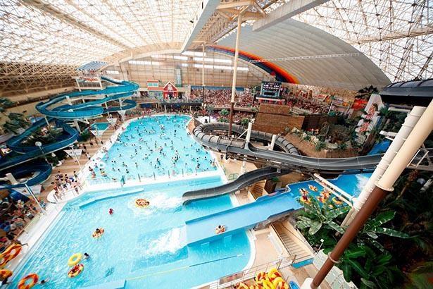 南国ムードあふれる広い大型プール